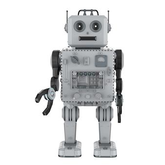 白い背景の上の3dレンダリングロボットブリキのおもちゃ