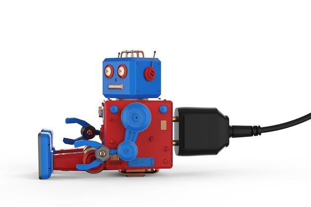 3d рендеринг робот оловянная игрушка плагин на белом фоне