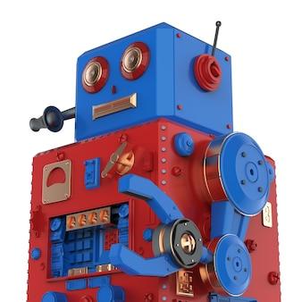3d-рендеринг оловянной игрушки робота с гарнитурой на белом фоне
