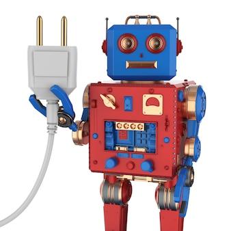 3d-рендеринг оловянной игрушки робота с вилкой на белом фоне