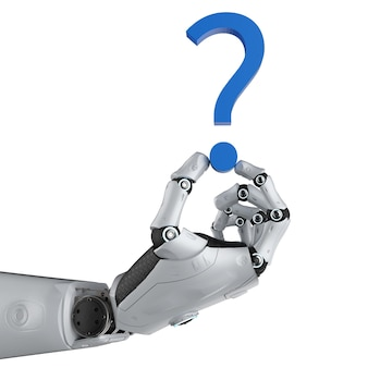 3d rendering robot with blue question mark isolated on white