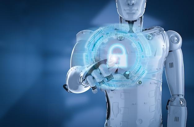 Робот-рендеринг 3d-рендеринга с замком клавиатуры для онлайн-безопасности