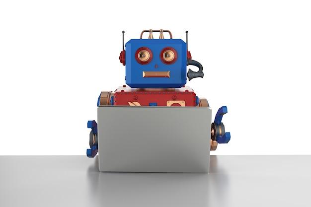 노트북 컴퓨터에서 작업하는 3d 렌더링 로봇