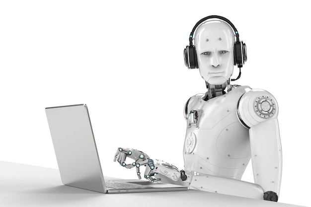 3d rendering robot working with headset and notebook