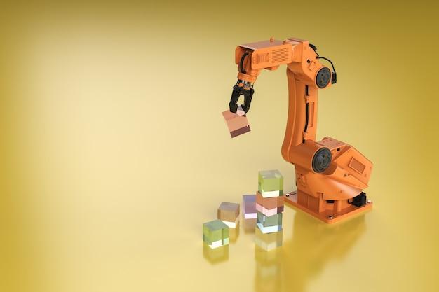 3dレンダリングロボットアームがおもちゃのブロックを家の中に配置します