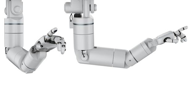 흰색에 고립 된 3d 렌더링 로봇 팔 또는 로봇 손 손가락 포인트