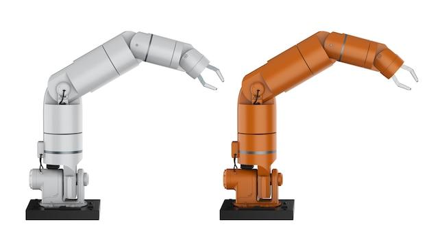 3d-рендеринг роботизированной руки или руки робота, изолированные на белом