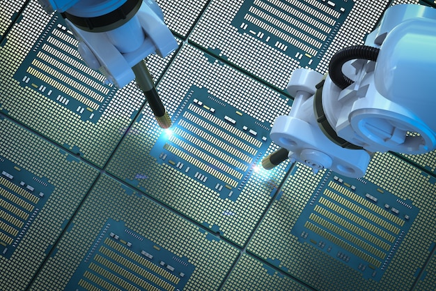 반도체 제조용 칩셋이 있는 3d 렌더링 로봇 팔