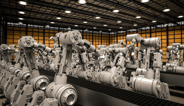 3d rendering robotic arms with empty conveyor belt