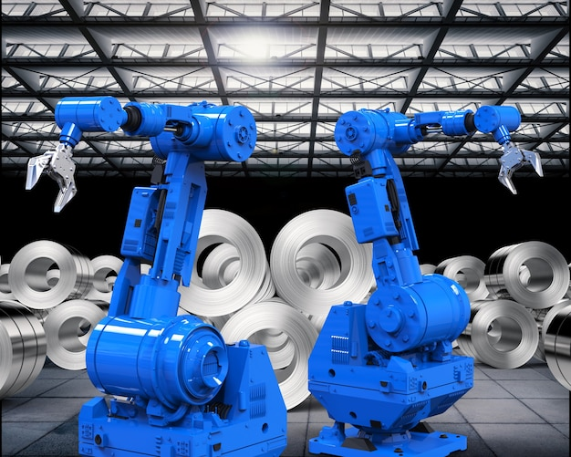 工場で鋼板のロールを使用した3dレンダリングロボットアーム