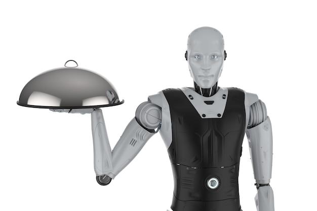 3d-рендеринг роботизированного помощника или робота-официанта держит металлический поднос