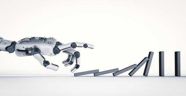 3d рендеринг роботизированной руки сложение домино