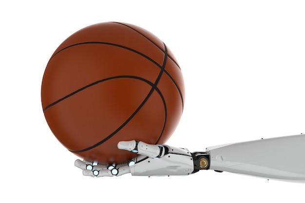 3d rendering robotic hand holding basketball on white background
