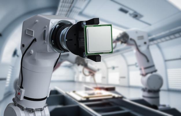 공장에서 cpu 칩을 들고 3d 렌더링 로봇 손