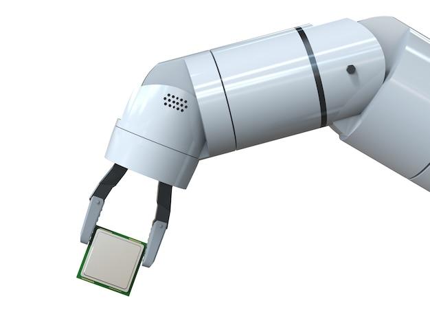 고립 된 cpu 칩을 들고 3d 렌더링 로봇 손