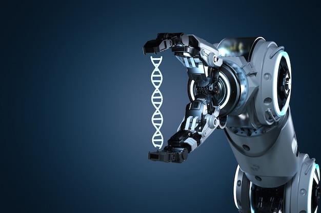3d-рендеринг роботизированная рука, держащая спираль днк