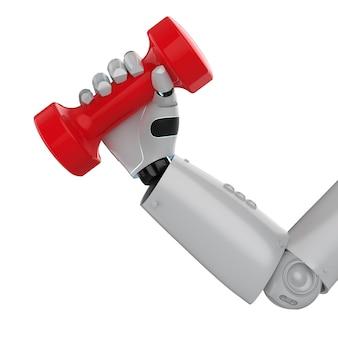 3d rendering robotic hand holding red dumbbell on white background
