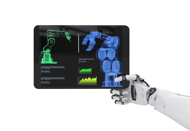 3d-рендеринг роботизированной руки, работающей с цифровым планшетом