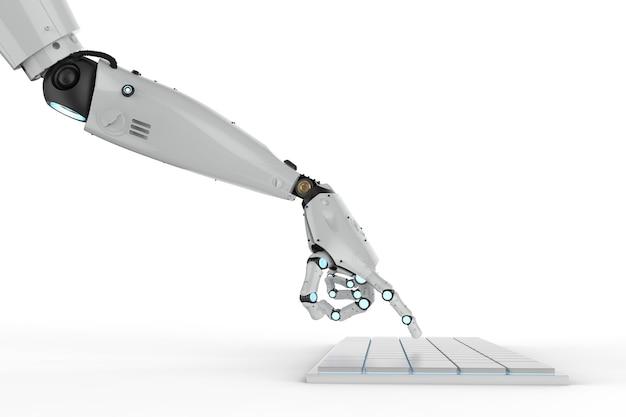 キーボードで動作する3dレンダリングロボットの手