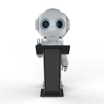 연단에서 말하는 3d 렌더링 로봇 대중 연설자