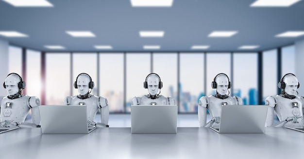 3d rendering robots working with headset and notebook