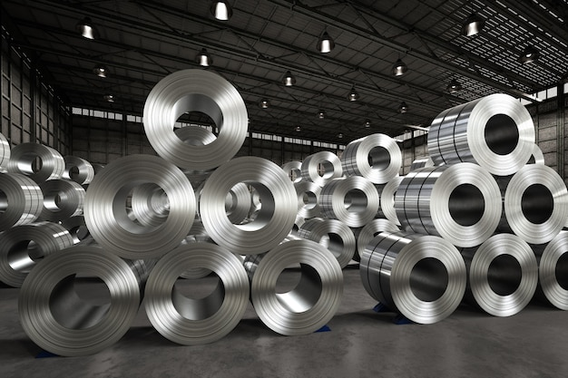 工場での鋼板の3dレンダリングロール