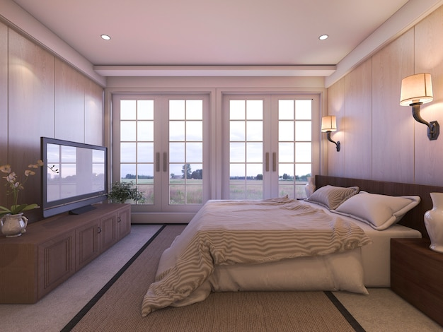 3d rendering romantic luxury bedroom with tv and nice view from window