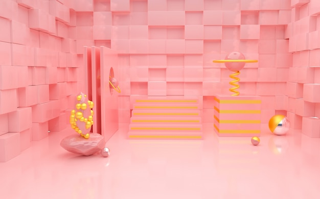 3d rendering of romantic pink with cube shaped walls