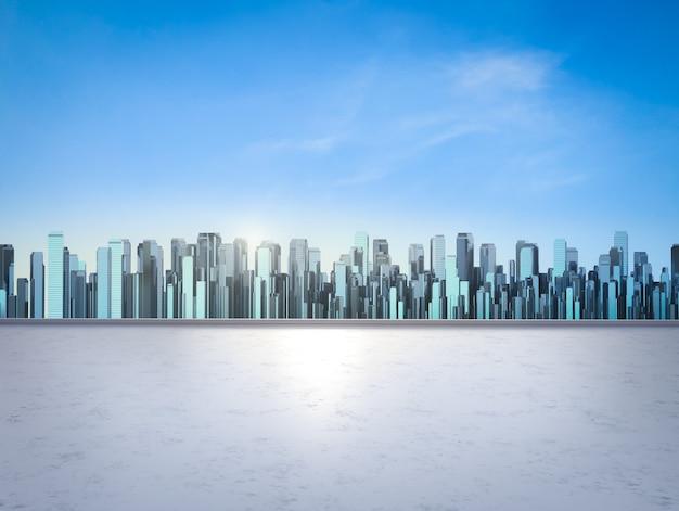 都市景観の背景を持つ3dレンダリング屋上バルコニー