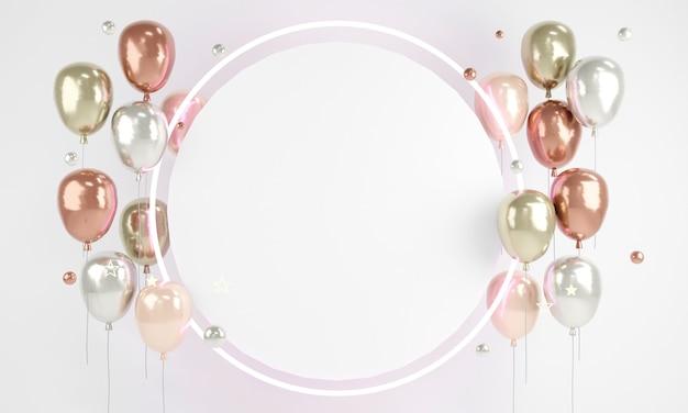3d-рендеринг воздушных шаров из розового золота с круглым светом и пустым листом бумаги для текста на фоне