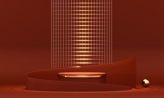 3d 렌더링 라운드 연단 형상 빨간색과 금색 요소.