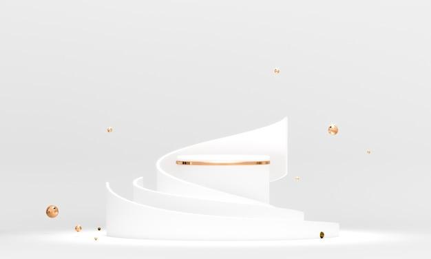 3d-рендеринг круглой геометрии подиума с белыми и золотыми элементами.