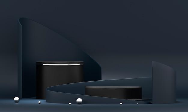 3d rendering round podium geometry.
