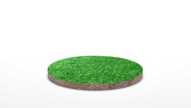 3dレンダリング。白い背景の上の緑の草と丸い土壌の地面の断面。