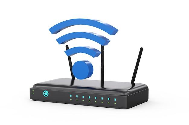 3d-рендеринг роутера с синим знаком wi-fi на белом фоне