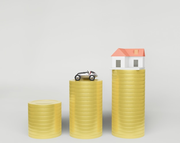 3d rendering ,a row of coins and a small house model