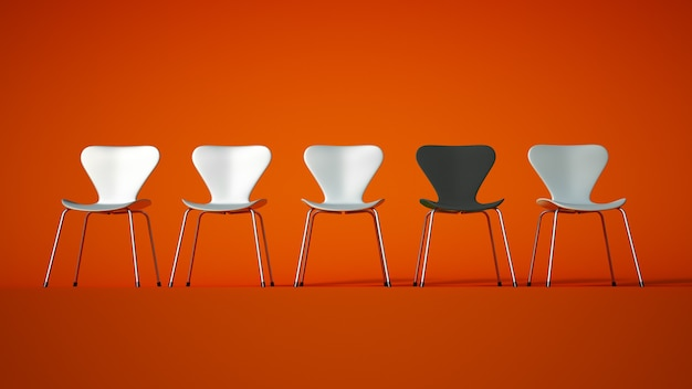 3d rendering of a row of plastic and metal chairs in white with a contrasting gray one on an orange  background