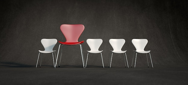 3d rendering of a row of white chairs and a contrasting red one in a more advance position