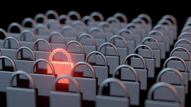 3d rendering of rows and columns of steel iron pad locks with one stand out in glowing red hot metal.