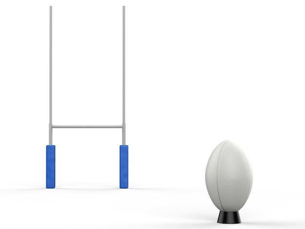 흰색 배경에 럭비 게시물이 있는 3d 렌더링 럭비 공