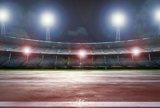 3d rendering running track with stadium background