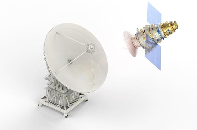 글로벌 커뮤니케이션을 위한 3d 렌더링 위성 및 위성 접시