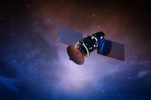 3d рендеринг спутниковой антенны в космосе со звездным небом