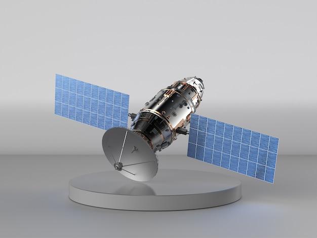 회색 배경에 3d 렌더링 위성 접시