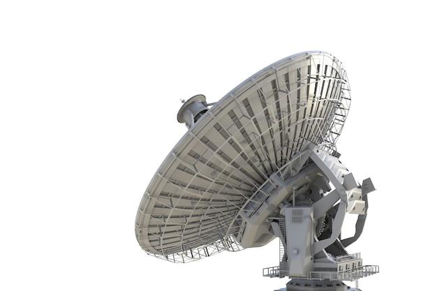 3d рендеринг спутниковой антенны на белом фоне