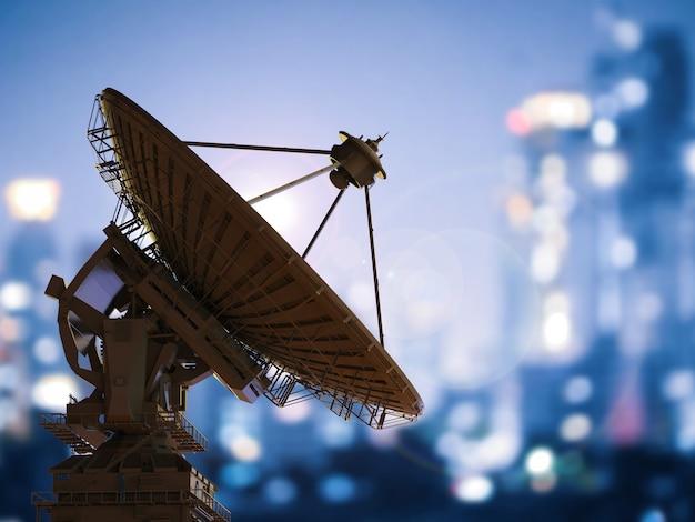 도시 배경으로 3d 렌더링 위성 접시