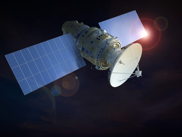 3d визуализация спутника в космосе