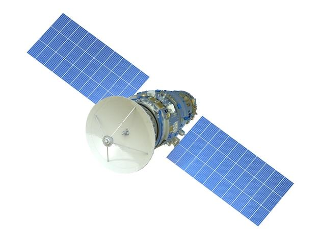 3d визуализация спутника, изолированные на белом фоне