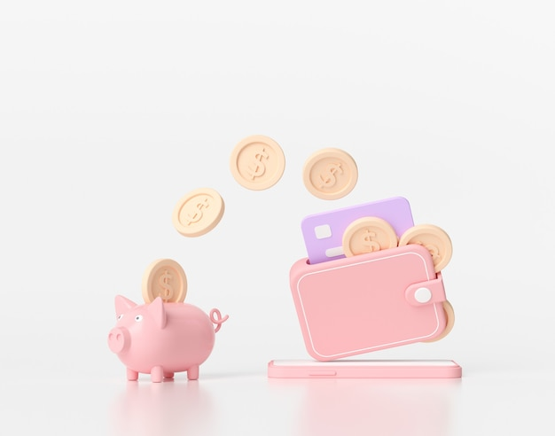 3d rendering saving money concept. money transfer to piggy bank. wallet, coins, credit card and piggy bank on white background
