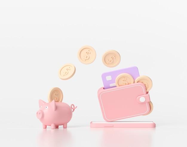 お金を節約する3dレンダリングの概念。貯金箱への送金。白い背景の上の財布、コイン、クレジットカード、貯金箱